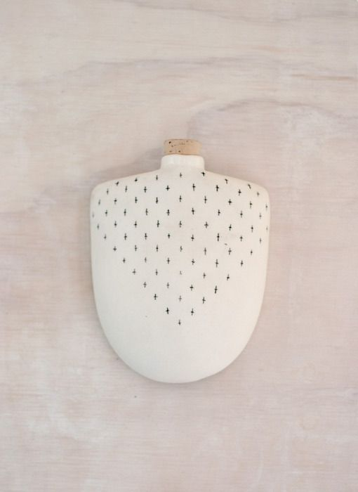 Decorated Porcelain Hip Flask // Taus Ceramic