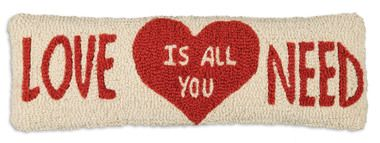 "Love Is All You Need 8""""x24"""" Lumbar Hooked Wool Pillow"