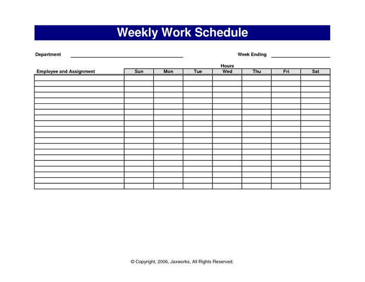 Free Printable Work Schedules Blank Template Definition Biology