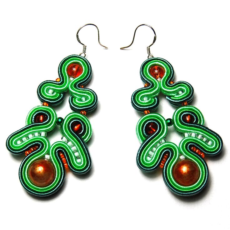 Soutache earrings long hanging exclusive dangle to buy gift unique for sale handmade elegant evening green orange jewelry Ohrringe orecchini by ForQueen on Etsy