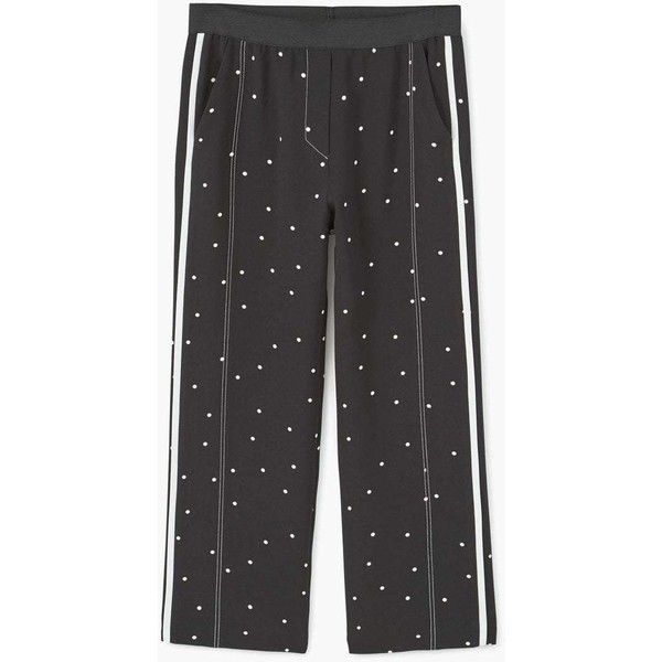 Polka-Dot Trousers ($45) ❤ liked on Polyvore featuring pants, dot pants, polka dot pants, stretch waist pants, mango trousers and mango pants