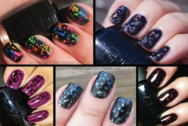 Black spotted polish #ManiMonday #OPI