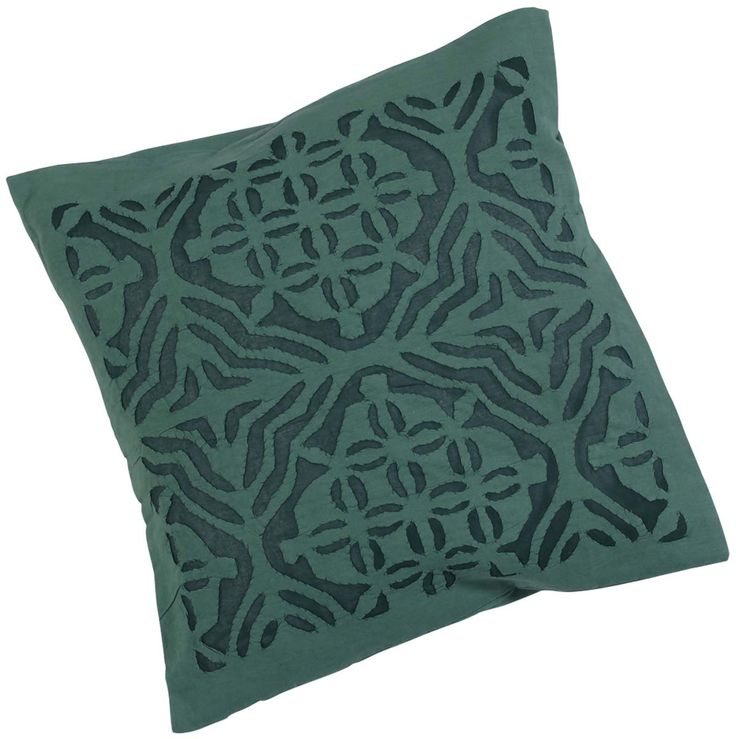 "Bulk Wholesale Dark-Green Cushion Cover in Pure Cotton – 16x16"" Hand-Stitched Throw Pillow Cover with Cut Work in Moroccan Pattern – Decorative Pillow Case for Couches / Beds / Sofas – Home Décor from India  (Set of 4)"