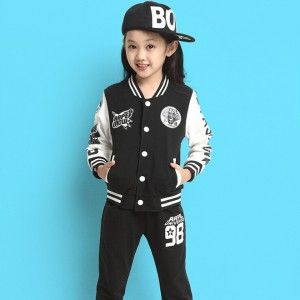 Girls Cotton Long-sleeved Sports Jackets & Pants Sets