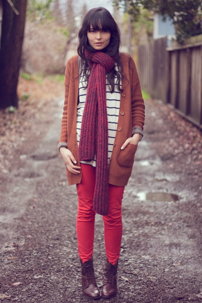 fall: Fashion, Style, Cardigan, Dress, Fall Outfits, Autumn Colours, Scarf, Red Pants