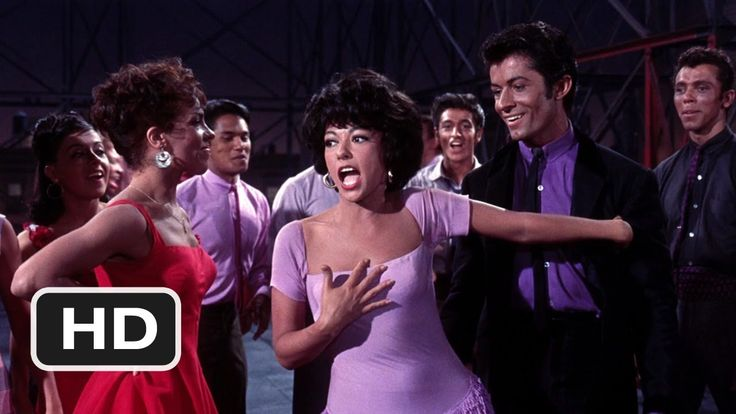 """""""America"""" from the movie version of West Side Story. Nice way to contrast views on life as an immigrant in the US, as the girls and boys have different perspectives."""