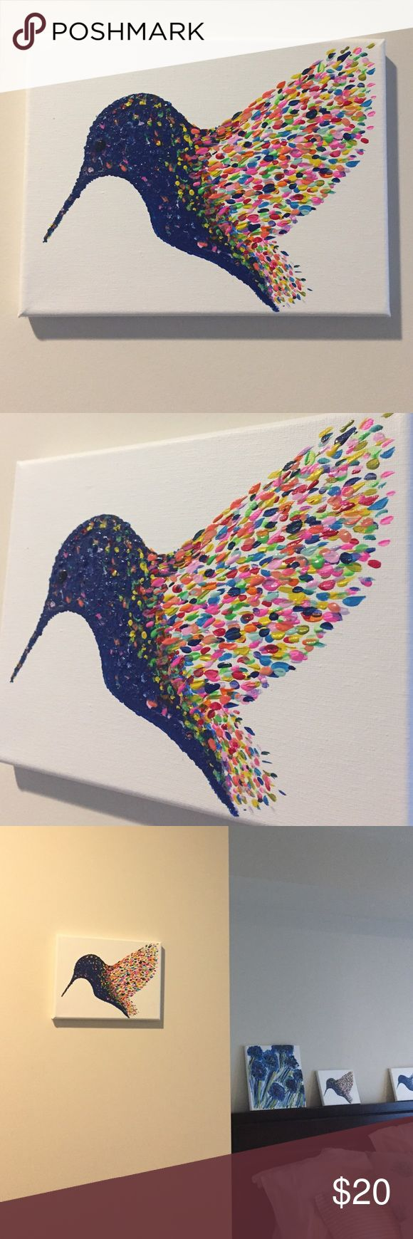 """Hummingbird Wall Art Multicoloured Hummingbird Wall Art Size 9x7"""", back stapled to a wooden frame, perfect gift to brighten up yours or someone's wall 😊 Allyamy Accessories"""