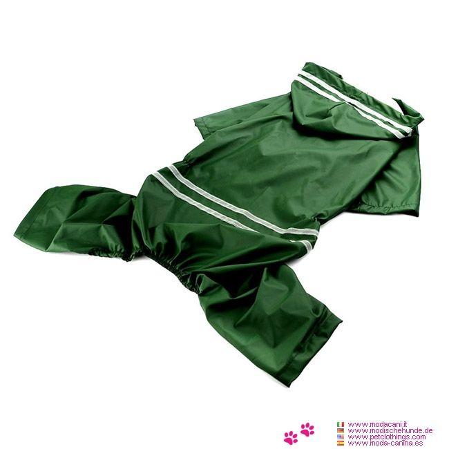 Impermeabile 4 Zampe Verde per Cane Medio e Grande - Impermeabile di colore verde per un cane di taglia media o grande, con misure disponibili anche per labrador, golden retriever, pastore tedesco