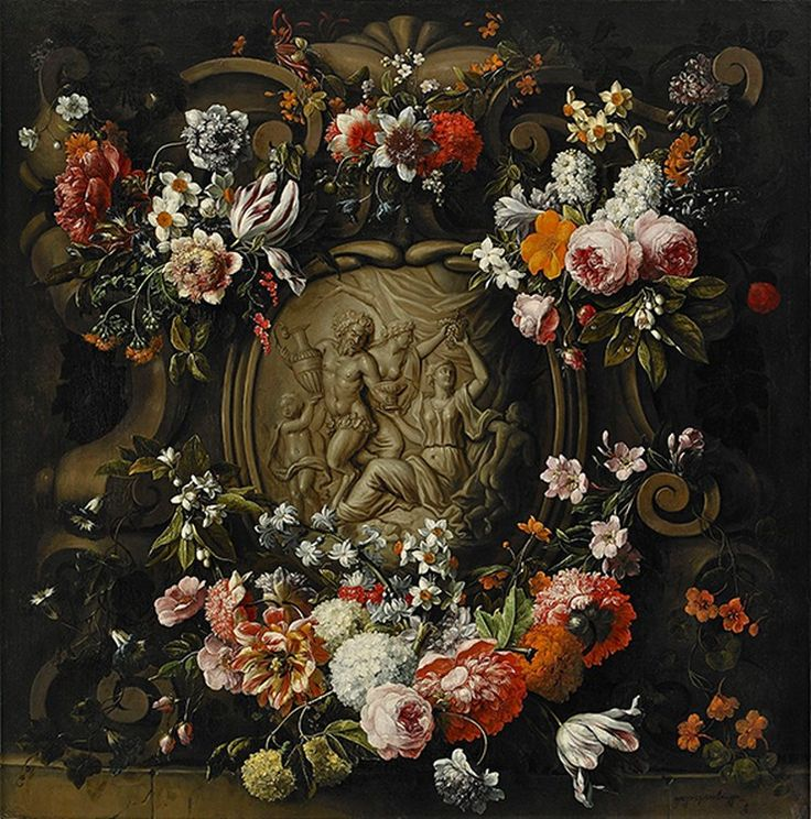 Gaspar Peeter Verbruggen (1635-1681) and Frans Ykens (1601-1693) — Cartouche with Garland of Flowers (741x750)