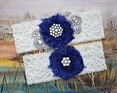 MARIELLA - bleu Royal mousseline de soie Rose mariage dentelle Ivoire jarretelles, ensemble de jarretière de mariée perle strass