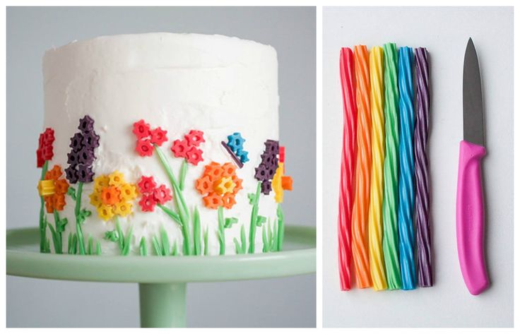 Easter-Food idea-Vanilla Cake decorated with Twizzlers