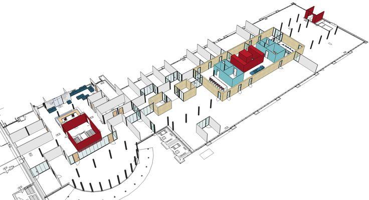 Op elke verdieping creeren rode bouwkundige kernen samenhang en herkenning. De kantoren zijn gesitueerd rond ontmoetingspleinen die door de met hout beklede wanden een warm en stoer karakter hebben. Elk plein biedt ruimte aan de gemeenschappelijke voorzieningen.