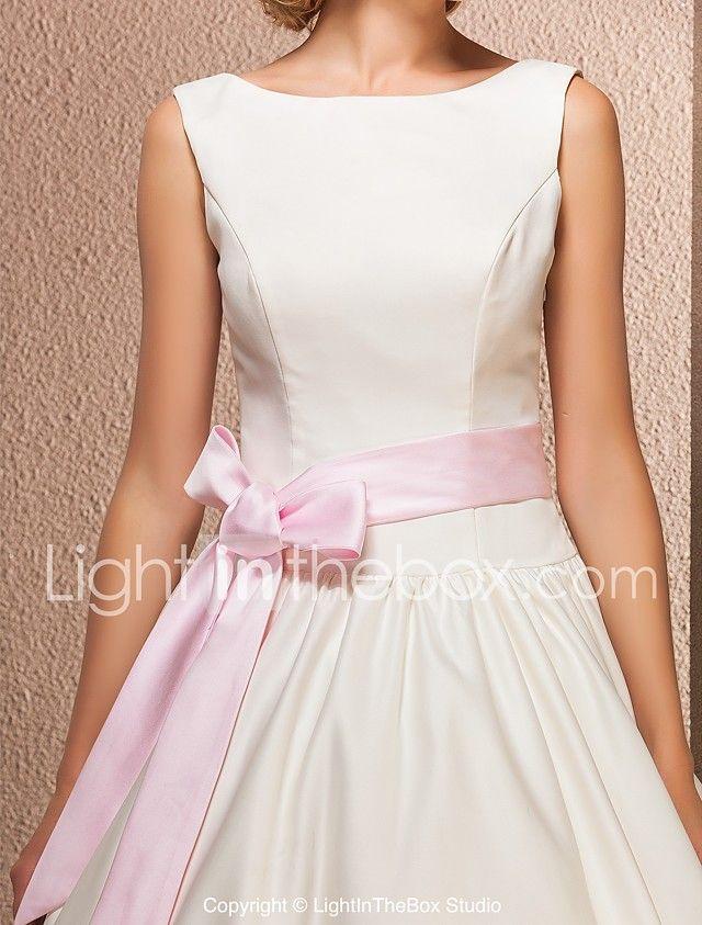 LAN TING BRIDE Hercegnő Esküvői ruha - Divatos és modern Esküvő Kis fehér szoknyák Jednostavno profinjeno Tea-hossz Csónaknyak Szaténval 2017 - €97.99