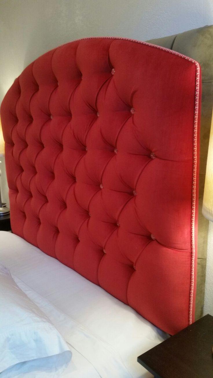 Queen tufted upholstered pink red velvet custom wall mounted headboard