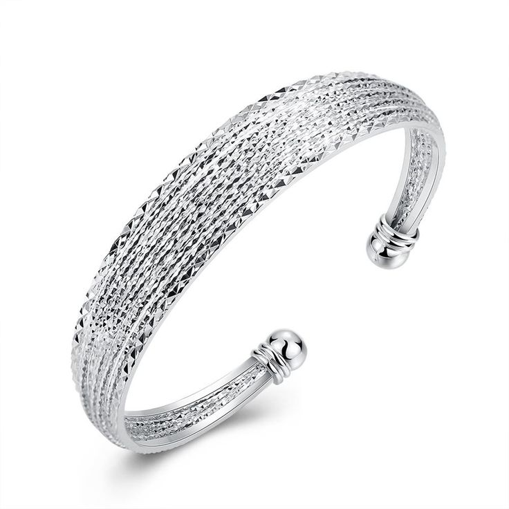 B145  SGS Test Past Latest Trendy Classic  Silver Plating Bangle Wholesale Price  NHKL0058
