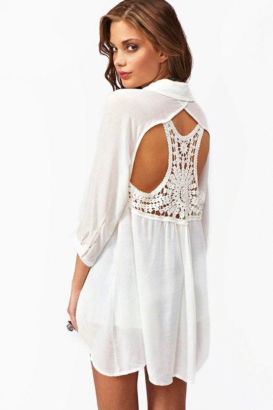love the backSummer Shirts, Summer Dresses, Fashion, Cutout Dress, Style, Clothing, Crochet Cutout, Cut Out, Cutout Blouses