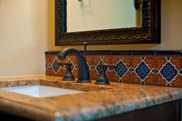 Spanish Tiles - Hacienda - mediterranean - bathroom - austin - Bella Villa Design Studio