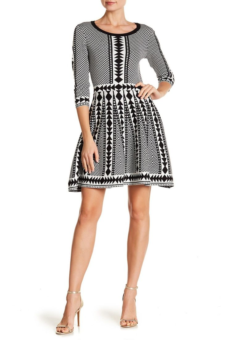 Nina Leonard | 3/4 Sleeve Geometric Print Dress