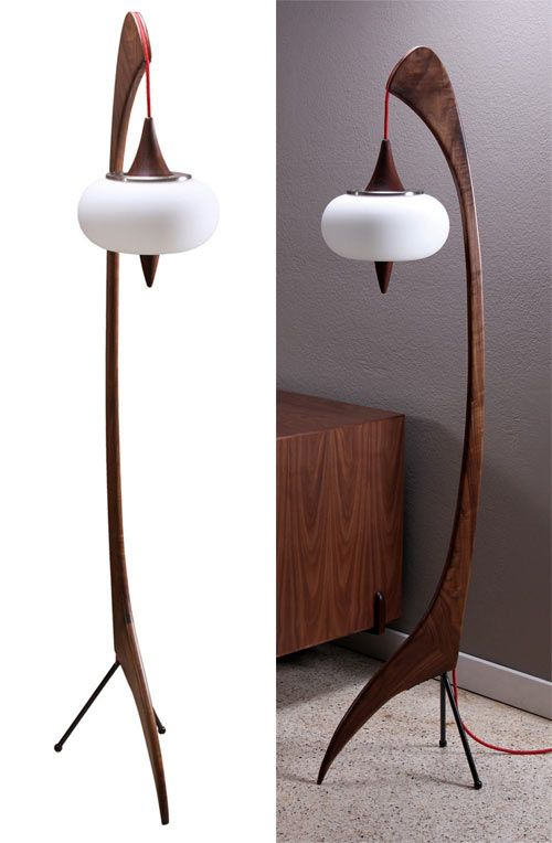 Zurn Design introduced me to their modern wood furniture and decor and I was taken by this atomic-era style lamp. Like a giant sculpture in your room that also features mood lighting.