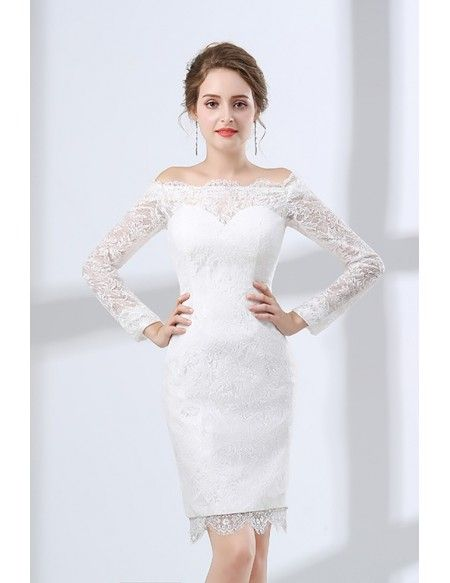 f5ccae3dc1d7b Fitted Lace Off Shoulder Short Wedding Dress Long Sleeves For Wedding  Reception Party #E7920 - GemGrace.com