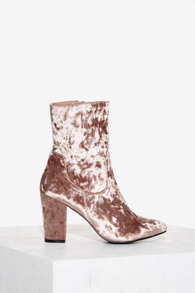 Nasty Gal Tibby Velvet Boot