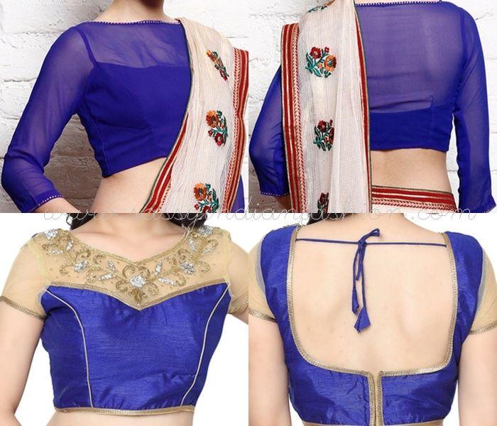 Bloue Net Blouse Designs for Sarees