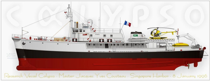 Not a sailboat, but still.    RV Calypso, the Research Vessel of the Cousteau Society