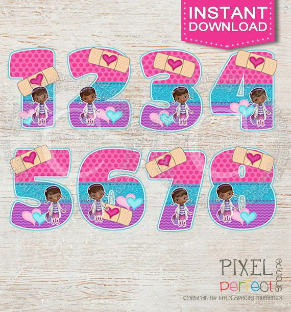 INSTANT DOWNLOAD Doc Mc clipart numbers clip by PixelPerfectShoppe, $3.99