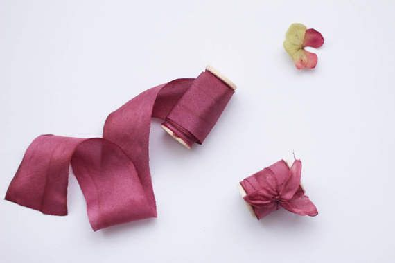 """Silk Ribbon, Hand Dyed Silk Ribbon, Burgundy red, On Wooden Spool, Plant Dyed, 1.5"""", Wedding Decoration, Photography Props, Red Silk Ribbon"""