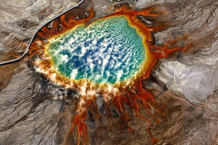 Sunrise at Grand Prismatic Spring, Yellowstone National Park, Wyoming, USA