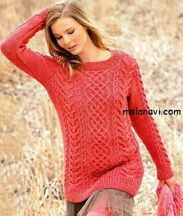 Описание вязаного свитера спицами