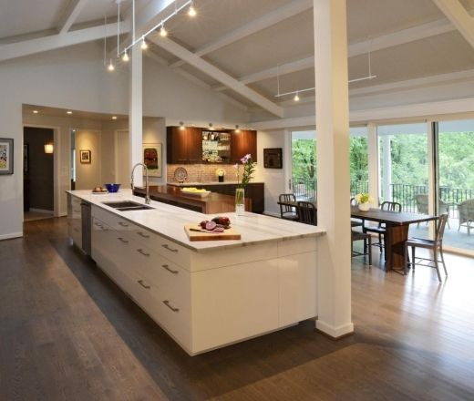 Modern Island Style White kitchen. This kitchen is the personification of a deep breath. SO much space!