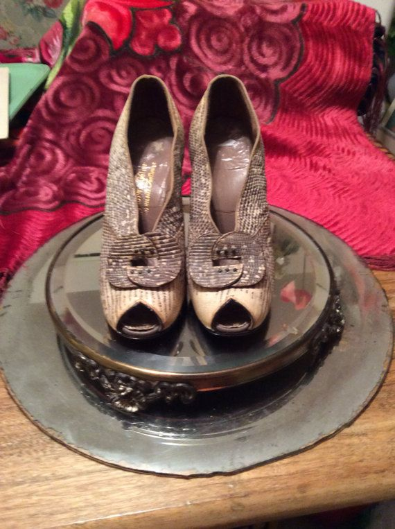 Just Bought thes 1930's peep toe snake skin high heeled Shoes by GypsyCowgirlVintage