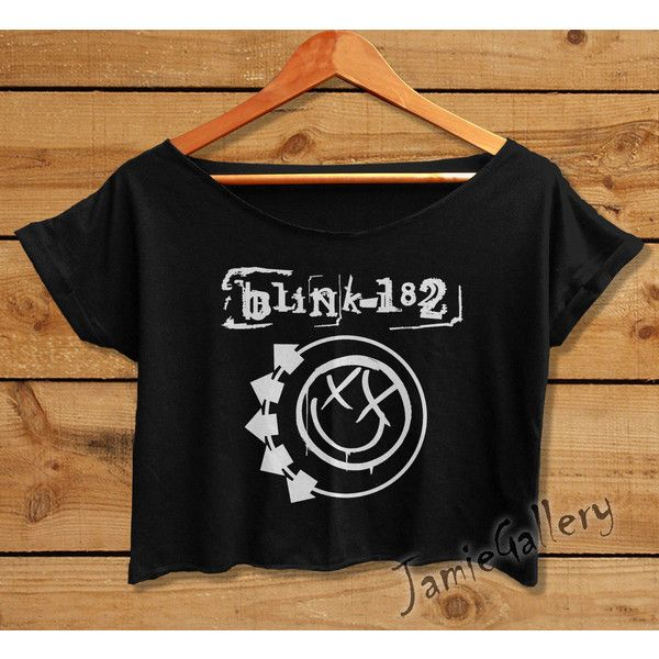 Blink 182 tshirt Crop Top Women Crop Tee Blink182 shirt American rock... (€13) ❤ liked on Polyvore featuring tops, t-shirts, band merch, black and white crop top, black white t shirt, crop shirts, crop t shirt and rock shirts