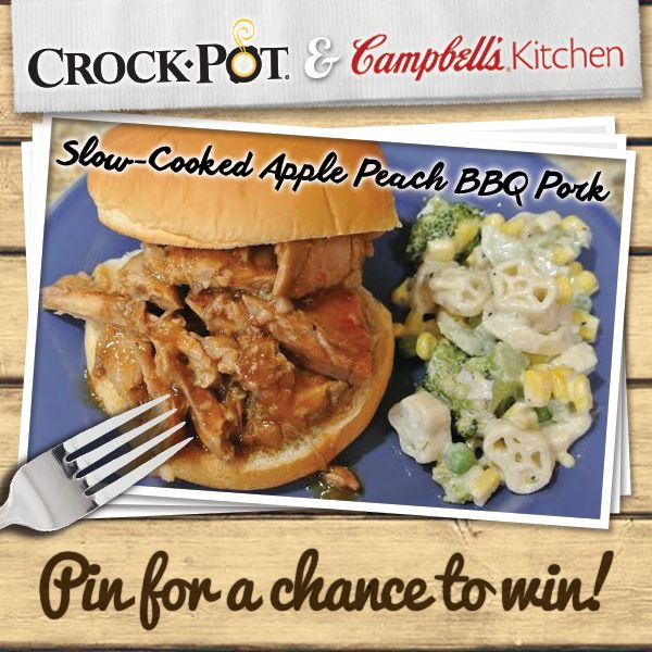 Nothing says summer like Apple Peach BBQ Pork! Make this delicious dish for your next picnic in your Crock-Pot® Slow Cooker with Campbell's® Slow Cooker Sauces! Enter our Pinterest contest for your chance to win a Crock-Pot® Slow Cooker & selection of Campbell's® Slow Cooker Sauces. Visit http://on.fb.me/1gGDw09 to enter. Contest ends 8/24/14. #CrockPot #SlowCooker #Campbells #recipe #pork #BBQ #contest #pintowin