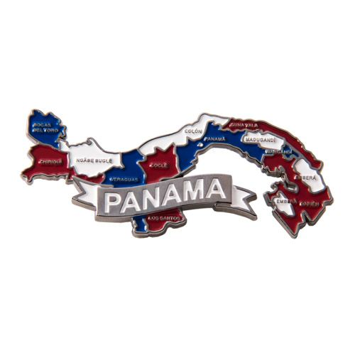 Metal Fridge Magnet: Panama. Map of Panama (Chrome Plating and Enamel)