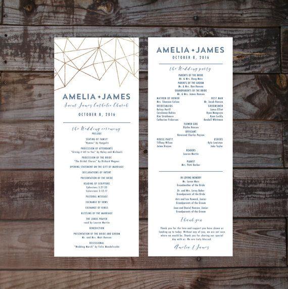 Wedding programs modern wedding program wedding by Annamalie