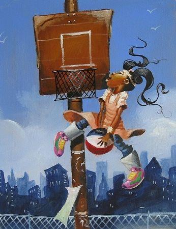 """HOOP -Frank Morrison Artwork for """"QUEEN OF THE SCENE"""" Children's Book by Queen Latifah"""