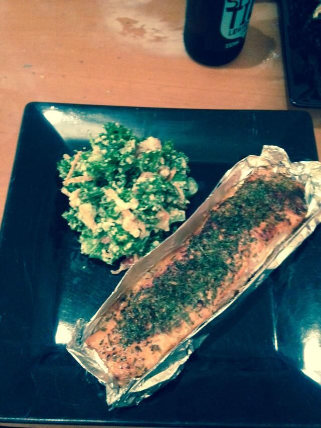 Baked, herbed salmon boats w/ kale and cous cous salad