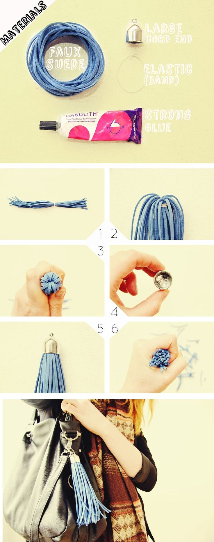 Bag Tassel Charm DIY. This is a cute add-on to a bag!