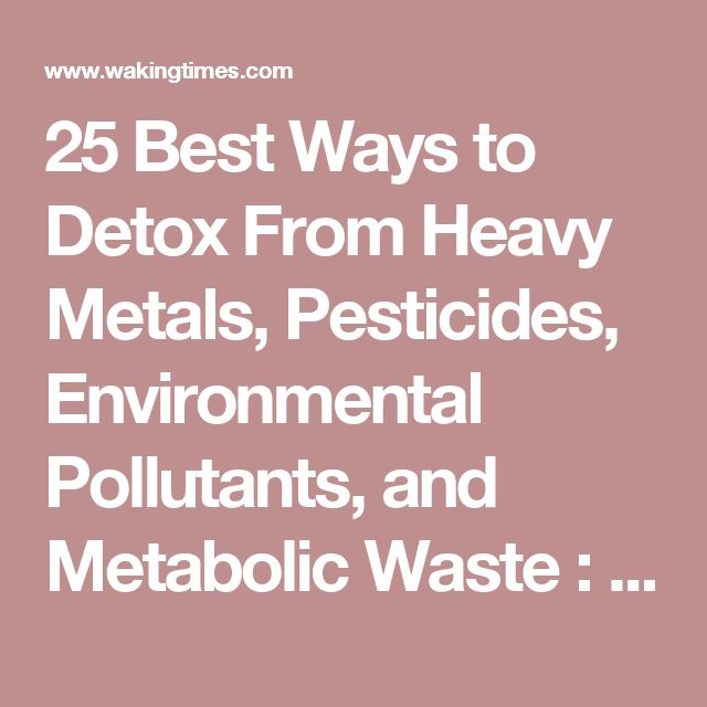 25 Best Ways to Detox From Heavy Metals, Pesticides, Environmental Pollutants, and Metabolic Waste : Waking Times