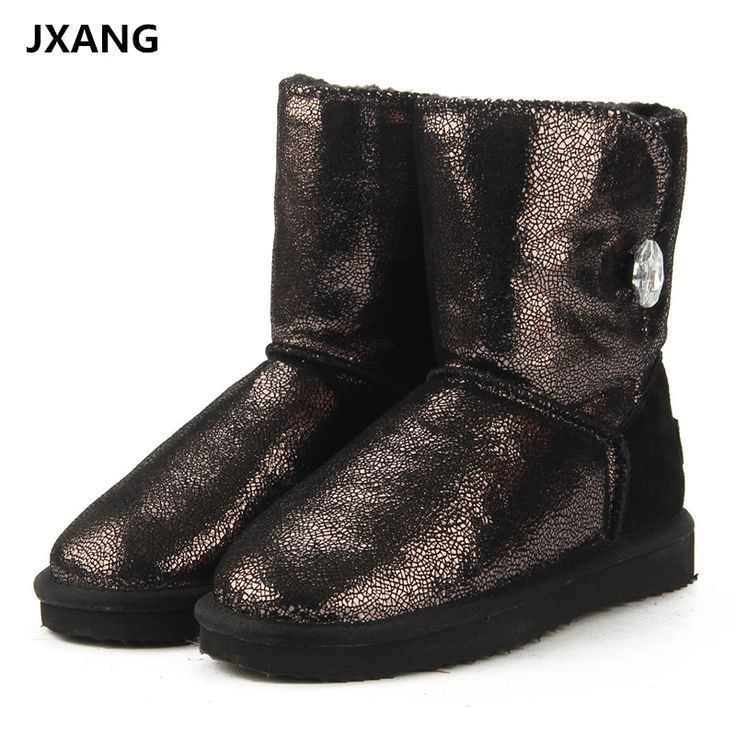 JXANG Top Quality Fashion 100% Genuine Cowhide Leather Snow Boots Real Fur Classic Mujer Botas Waterproof Winter Shoes for Women