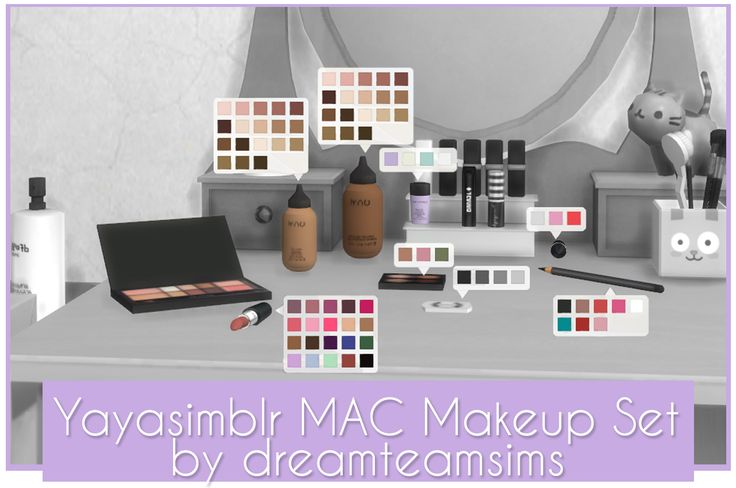Lola-Sims' Simlish Fix - MAC Makeup Set Have some Simlish-fied makeup clutter!  Make sure to download the Yayasimblr MAC Makeup Set (S3 to S4) by dreamteamsims for these to appear in your game!...