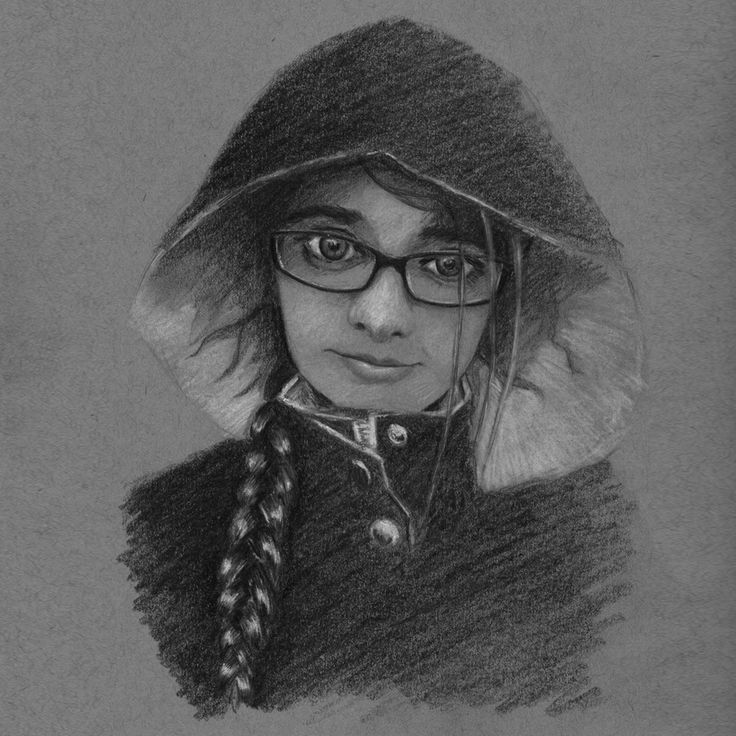 raisedbyothers - Girl with glasses in hood. Graphite and chalk on toned paper