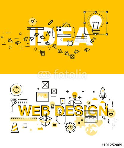 Wektor: Set of modern vector illustration concepts of words idea and web design. Thin line flat design banners for website and mobile website, easy to use and highly customizable.