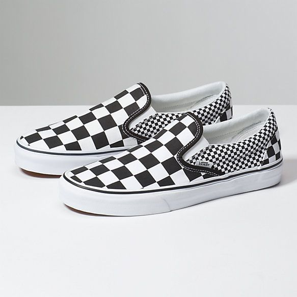 Mix Checker Slip On Shop At Vans In 2021 Slip On Shoes Leather Shoes Woman Womens Shoes Wedges
