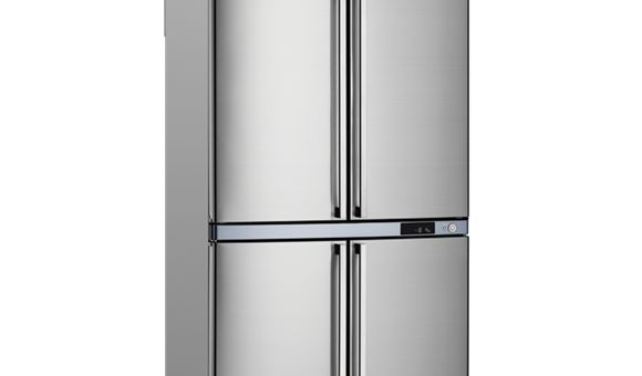 620L four door refrigerator with stainless steel doors, bar handles, 3 star energy rating and R600a refrigerant