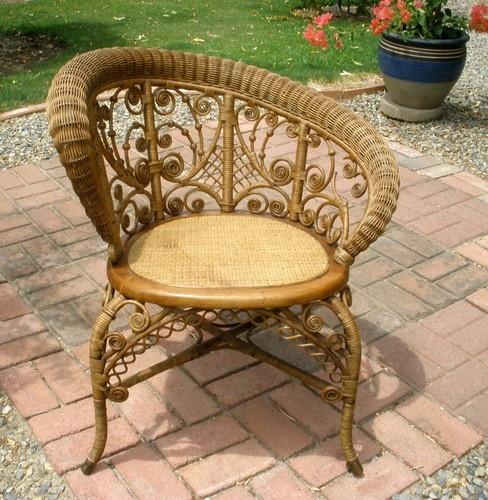 Antique Vintage Victorian Wicker Arm Chair Curlicue Stick U0026 Ball Design