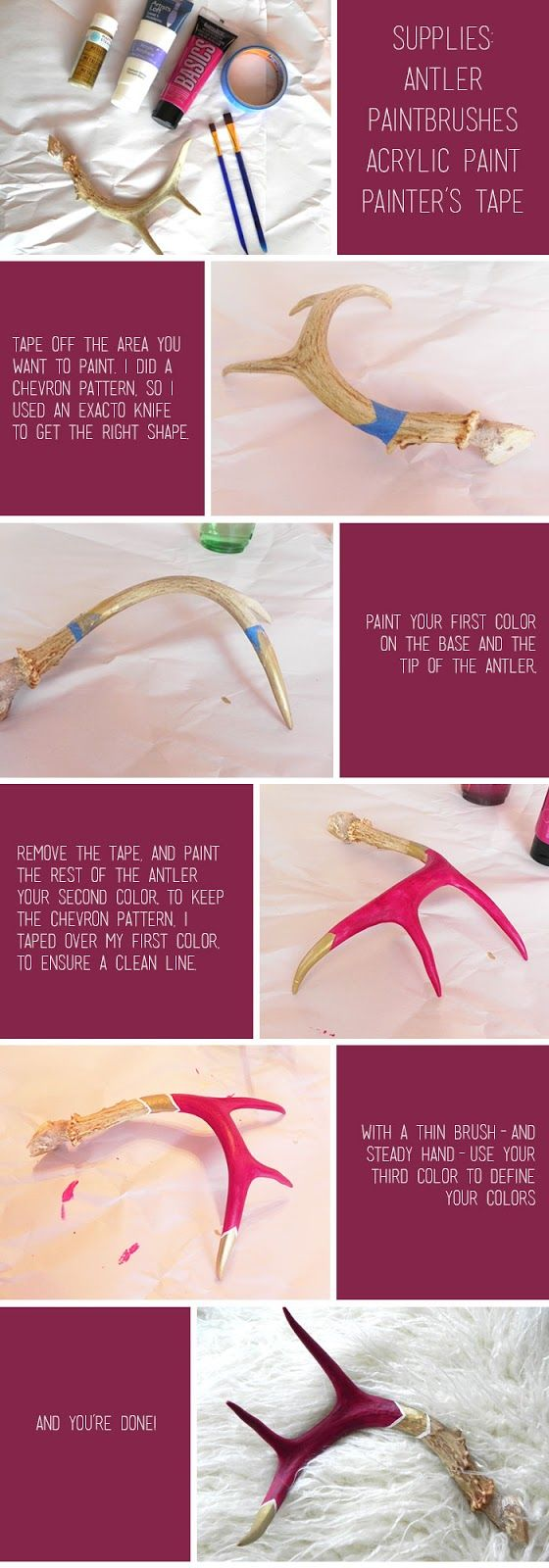DIY: Painted Antlers ... christmas project.