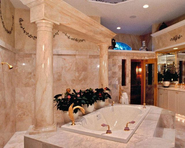 Luxury beige marble bathroom in Mediterranean style